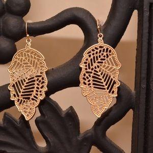 Gold Metal Leaf Filigree Earrings
