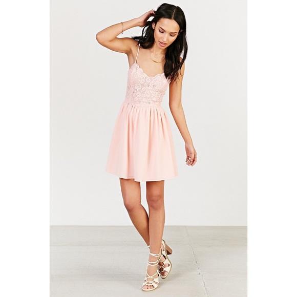 aa53066659b6 Pink Spaghetti Strap Lace Dress( Kimchi Blue)