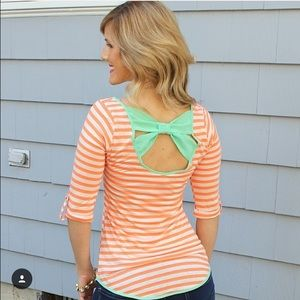 Orange and mint striped bow back shirt