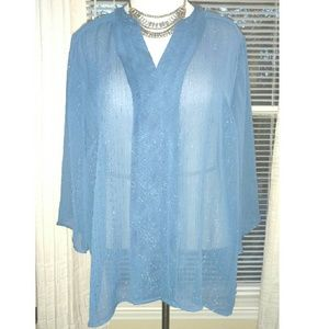 Catherines Tops - Pretty Blue Button Up Top - Petite
