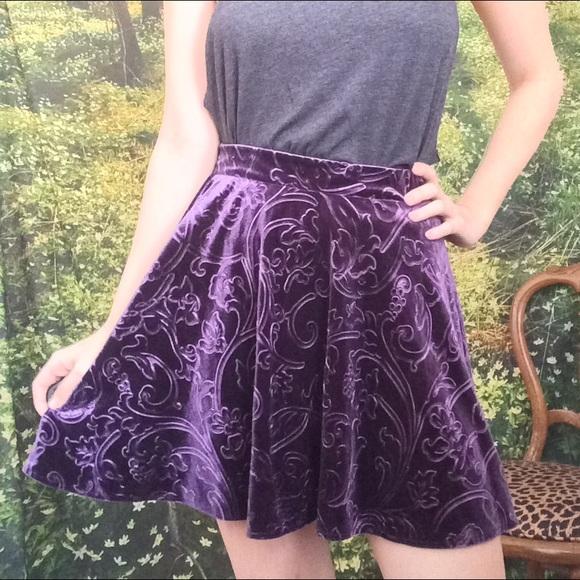 28% Off Forever 21 Dresses U0026 Skirts - Purple Velvet Skater Skirt From Anastasiau0026#39;s Closet On Poshmark