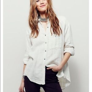 Free People Double Cloth Boyfriend Button Down
