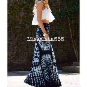 String black tie dye maxi skirt RESTOCKED