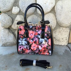 Black Floral Metal Frame Satchel
