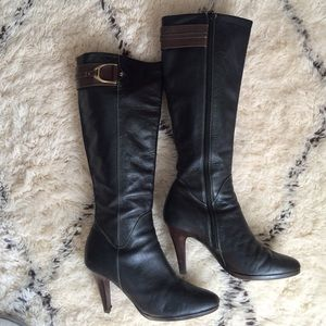Cole Haan Black Pebbled Leather Nike Air Boots