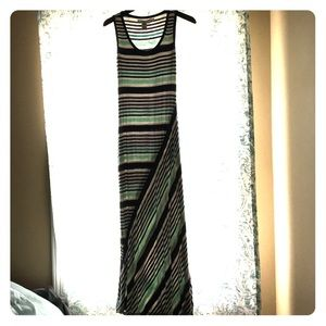 Striped long cotton dress