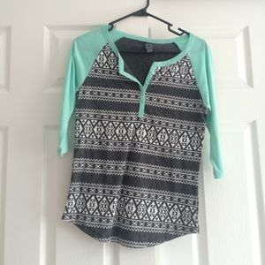 Blue 3/4 length top with Aztec print