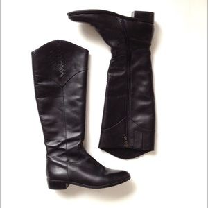 Tahari 'Rupert' Black Leather Riding Boots, Sz 7.5