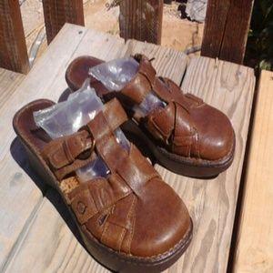 Born Shoes - Born wedges leather fisherman slide mule close toe