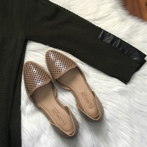 Elegant Footwears Shoes - Nude Perforated D'orsay Flats