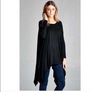 April Spirit Tops - Black Asymmetrical hem Long Sleeve Jersey Top