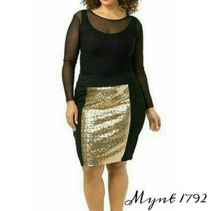 PLUS Sized Gold Embellished Skirt