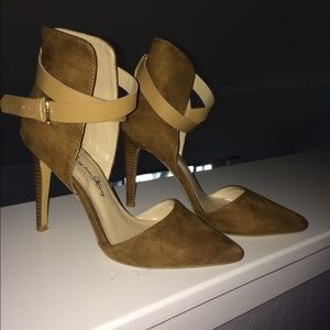 Shoes - Camel Ankle Strap Pointed-Heel
