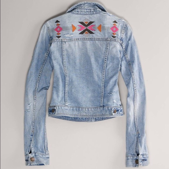 45704ae395746 American Eagle Outfitters Jackets   Blazers - American Eagle Aztec  Embroidered Jean Jacket