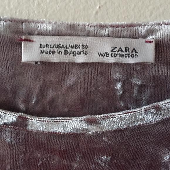 67 Off Zara Tops Zara Pink Crushed Velvet Crop Top Size