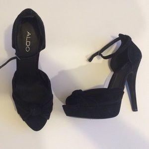 Aldo black suede peep toe ankle strap platform