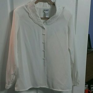 Koret Tops - Cream Colored Button Down Blouse
