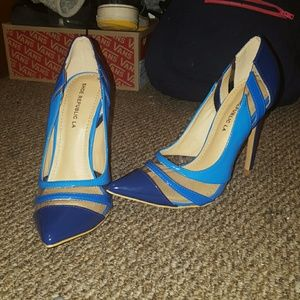 Blue Negative Space Heels