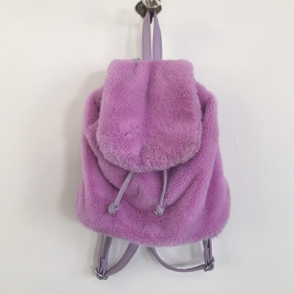 19c2e8410aa2 LA Moda Handbags - La Moda purple lavender furry backpack club 90s