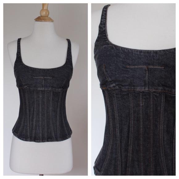 c55c679e Dolce & Gabbana Tops | Vintage 90s Dg Black Denim Jean Corset Top ...