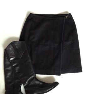 Eddie Bauer Dresses & Skirts - Eddie Bauer Black Wool A-line Wrap Skirt, Sz 10