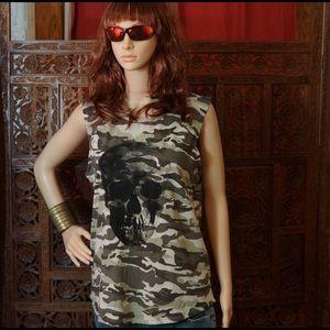 Cotton On Tops - COTTON ON Skull sleeveless camouflaged t-shirt