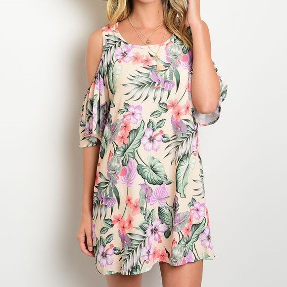 🎈LAST ONE🎈Beach Peach Floral Cold Shoulder Dress 87551ff74