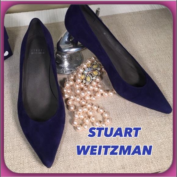 Stuart Weitzman scarpe   Gorgeous Gorgeous  blu Suede Kitten Heels   Poshmark fe7e69