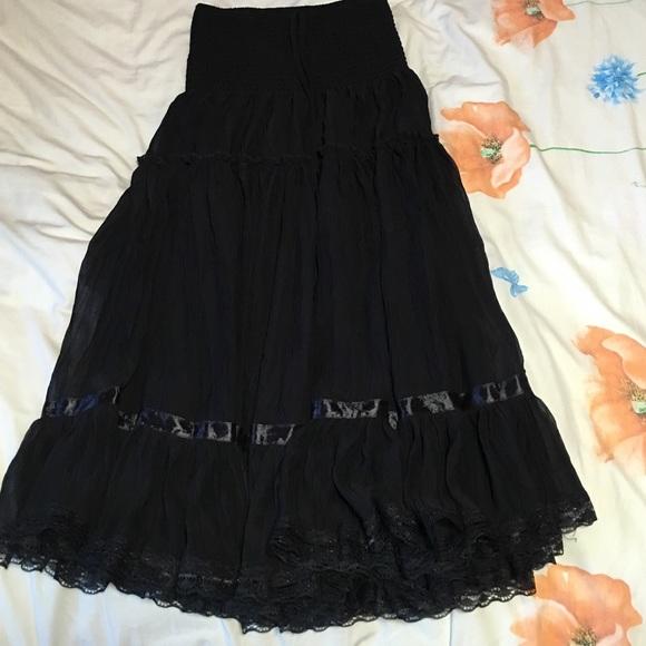Lapis Long Black skirt