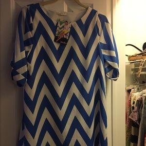 Blue and white chevron dress