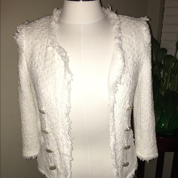 Zara Jackets Amp Blazers White Boucle Blazer Poshmark