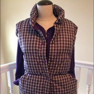Lands' End Jackets & Blazers - EUC Land's End Purple Plaid Puffer Vest size XL