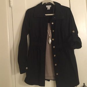Soft Surroundings Solid Black Stretch Top/Jacket