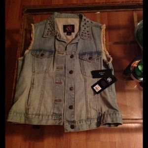 Rock & Republic Denim - Rock & Republic denim vest with studded collar