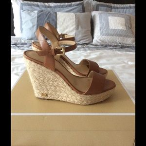 6a9b1b891a0 Michael Kors Shoes - Michael Kors Jill Leather Wedge in luggage worn 1