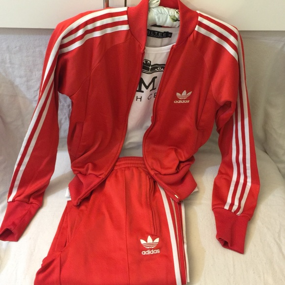 Adidas Jackets   Blazers - Retro red adidas track suit women s 189d01c468ef