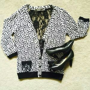 twelve by twelve Sweaters - Black & White Cheetah Lace Cardigan Sz M