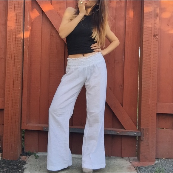 Guess - Guess White Linen Lounge Pants Wide Leg Trousers from !'s ...