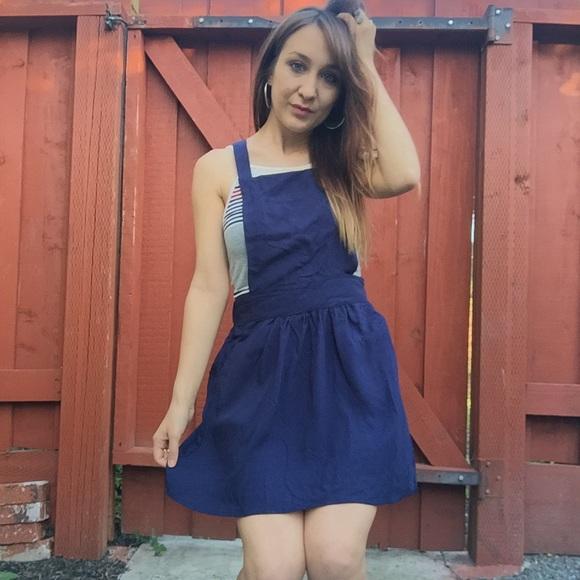 M Navy Blue Suspender Skirt Overall Dress Romper