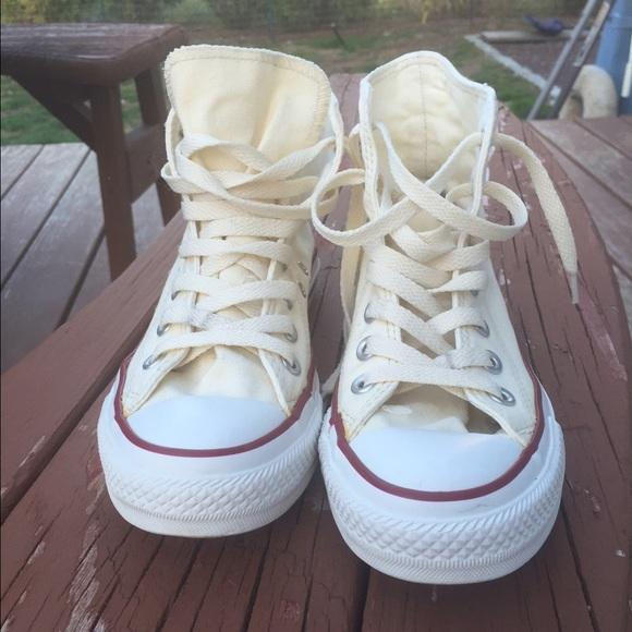High Top Creamyellow Colored Converse