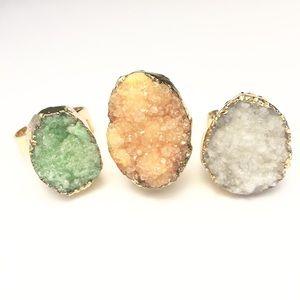 Pack Of 3: Agate Druzy Rings