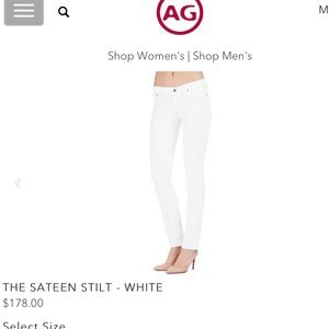 AG the stilt cigarette Jean in white sateen