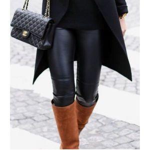 Black HighWaist Vegan Leather Liquid Legging S M L