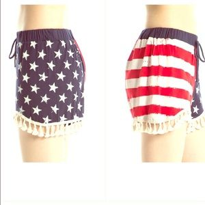 Pants - American flag shorts with fringe