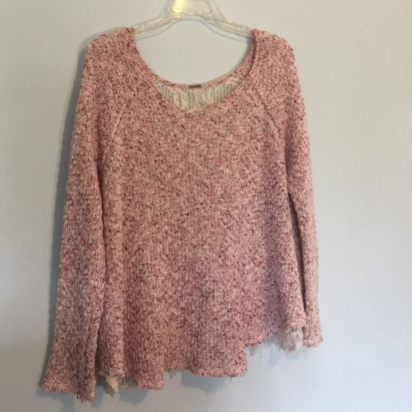 84% off Free People Sweaters - FREE PEOPLE Pink Marled Crochet ...