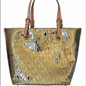 Michael Kors Handbags - Michael Kors Mirror Gold Jet Set Tote Bag