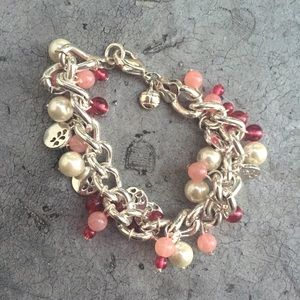 Pink and White Bead Chain Charm Bracelet