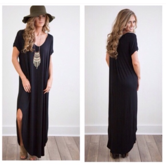 Boutique Dresses Boho Black Side Slit Loose Maxi Dress Size Small