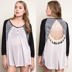"1DAYSALE ""Plethora"" Crochet Back Baseball Top"