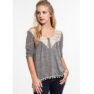 """Serenity"" Grey Crochet Sweetheart Top"